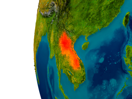 Laos highlighted in red on detailed model of planet Earth. 3D illustration.