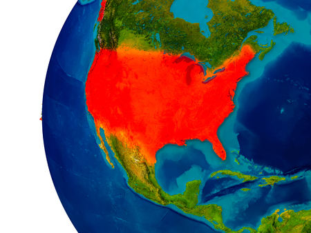 USA highlighted in red on detailed model of planet Earth. 3D illustration.