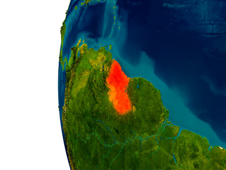 guyanese: Guyana highlighted in red on detailed model of planet Earth. 3D illustration. Stock Photo