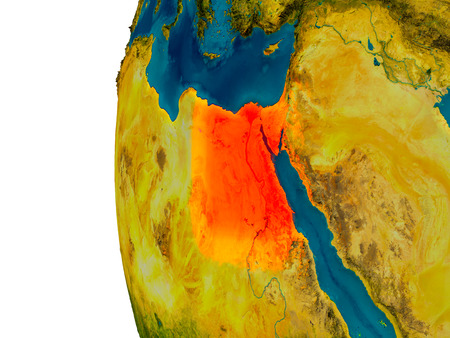 physical geography: Egypt highlighted in red on detailed model of planet Earth. 3D illustration.