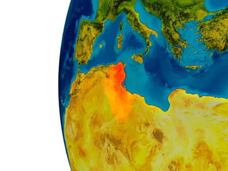 Tunisia highlighted in red on detailed model of planet Earth. 3D illustration. Stock Photo