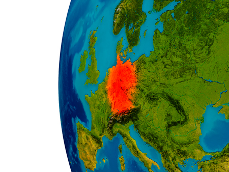 Germany highlighted in red on detailed model of planet Earth. 3D illustration. Stock Photo