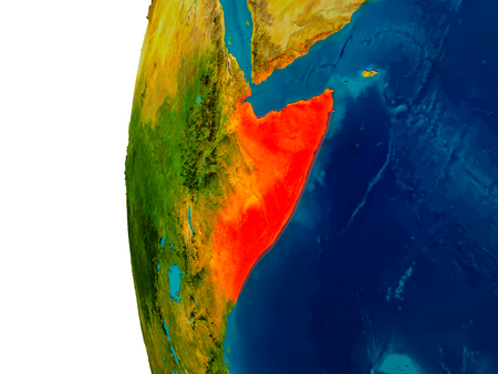 Somalia highlighted in red on detailed model of planet Earth. 3D illustration. Elements of this image furnished by NASA. Stock Photo