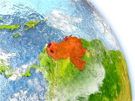 Venezuela in red color on model of Earth. 3D  illustration with detailed planet surface, clouds and reflective ocean waters.