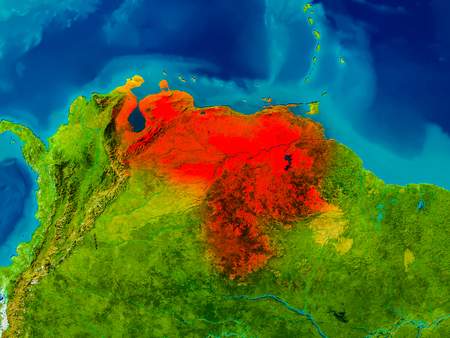 Venezuela highlighted in red on physical map. 3D illustration.