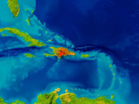 ドミニカ共和国の物理的な地図の赤で強調表示されます。3 D イラスト。