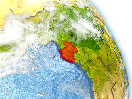 Gabon in red color on model of Earth. 3D  illustration with detailed planet surface, clouds and reflective ocean waters. Stock Photo