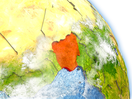 country nigeria: Nigeria in red color on model of Earth. 3D  illustration with detailed planet surface, clouds and reflective ocean waters.