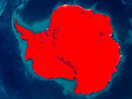 antarctica: Antarctica highlighted in red on physical map. 3D illustration.