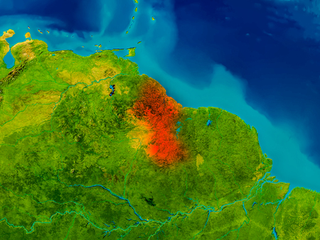 guyanese: Guyana highlighted in red on physical map. 3D illustration.