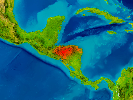 El Salvador Highlighted In Red On Physical Map 3D Illustration