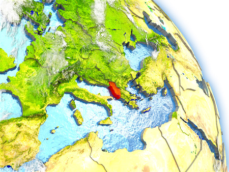 Albania in red color on model of Earth. 3D  illustration with detailed planet surface, clouds and reflective ocean waters.