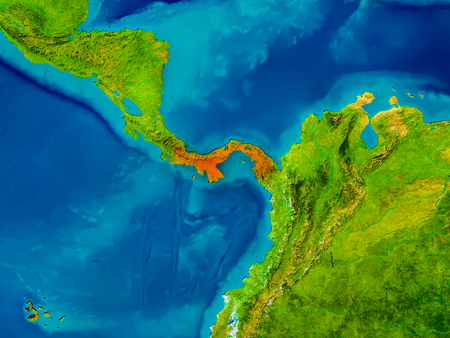 panamanian: Panama highlighted in red on physical map. 3D illustration. Stock Photo