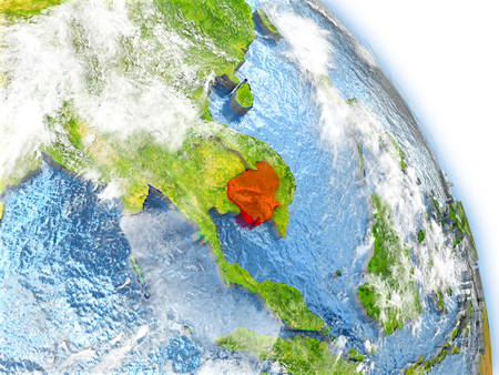 Cambodia in red color on model of Earth. 3D  illustration with detailed planet surface, clouds and reflective ocean waters.