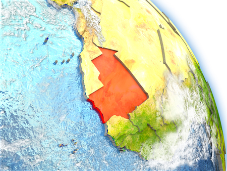 mauritania: Mauritania in red color on model of Earth. 3D  illustration with detailed planet surface, clouds and reflective ocean waters.