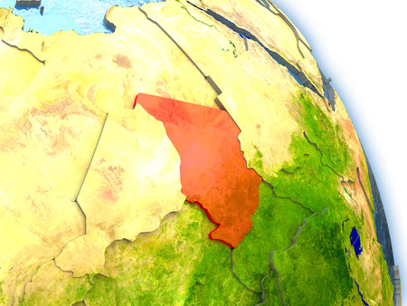 chadian: Chad in red color on model of Earth. 3D  illustration with detailed planet surface, clouds and reflective ocean waters.