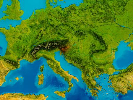 Slovenië gemarkeerd in het rood op de fysieke kaart. 3D illustratie.