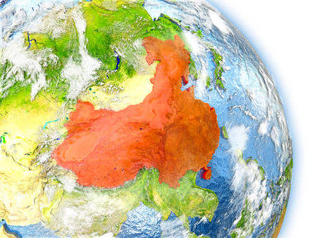 China in red color on model of Earth. 3D  illustration with detailed planet surface, clouds and reflective ocean waters.