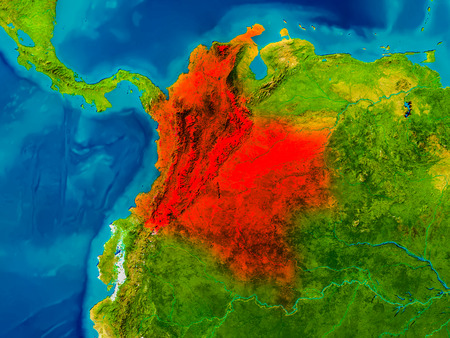 Colombia highlighted in red on physical map. 3D illustration.