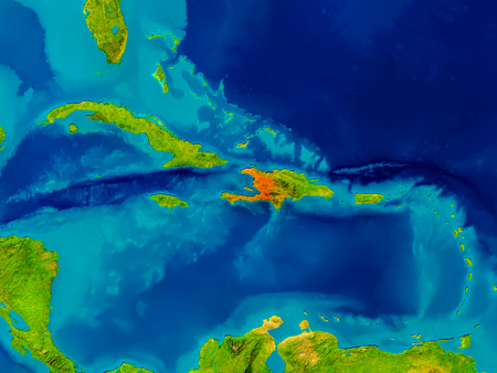 Haiti highlighted in red on physical map. 3D illustration.