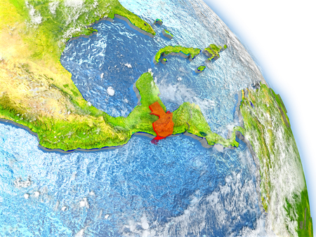 guatemalan: Guatemala in red color on model of Earth. 3D  illustration with detailed planet surface, clouds and reflective ocean waters.