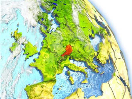 Austria in red color on model of Earth. 3D  illustration with detailed planet surface, clouds and reflective ocean waters. Stock Photo