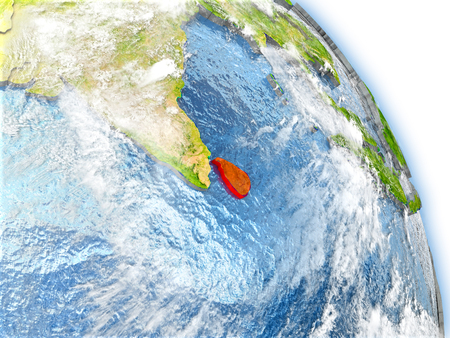 Sri Lanka in red color on model of Earth. 3D  illustration with detailed planet surface, clouds and reflective ocean waters.