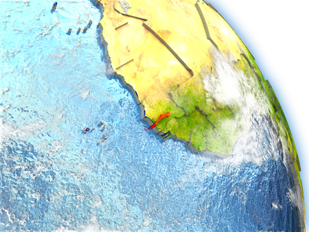 Gambia in red color on model of Earth. 3D  illustration with detailed planet surface, clouds and reflective ocean waters.