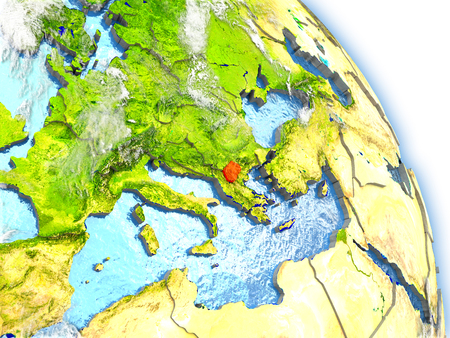 Macedonia in red color on model of Earth. 3D  illustration with detailed planet surface, clouds and reflective ocean waters. Stock Photo