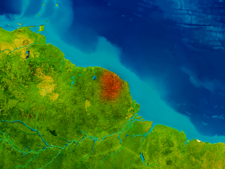 guiana: French Guiana highlighted in red on physical map. 3D illustration. Stock Photo
