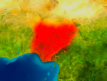 Nigeria highlighted in red on physical map. 3D illustration.