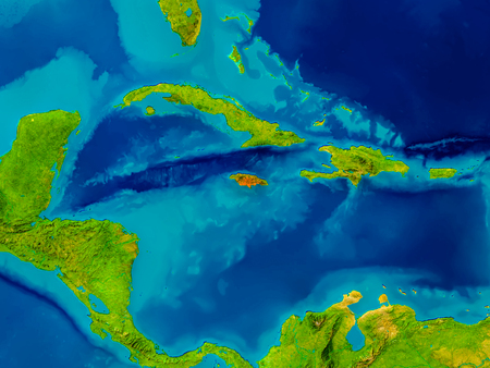 Jamaica highlighted in red on physical map. 3D illustration.