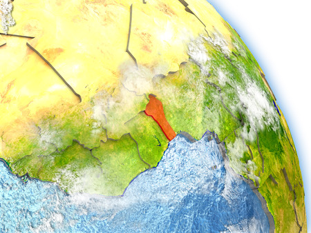 Benin in red color on model of Earth. 3D  illustration with detailed planet surface, clouds and reflective ocean waters.