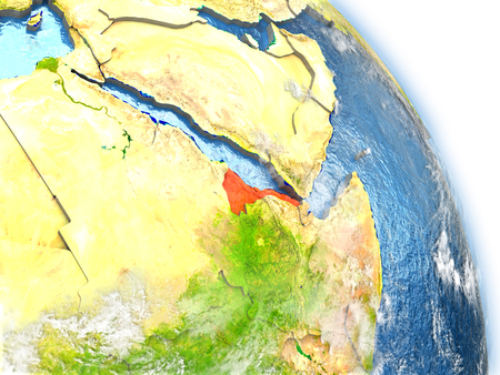 Eritrea in red color on model of Earth. 3D  illustration with detailed planet surface, clouds and reflective ocean waters.