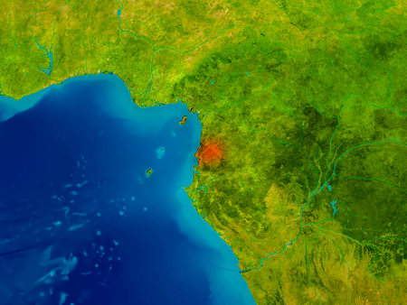 Equatorial Guinea highlighted in red on physical map. 3D illustration. Stock Photo