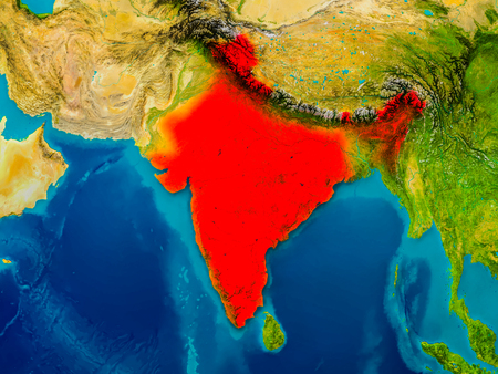 India highlighted in red on physical map. 3D illustration. Stock Photo