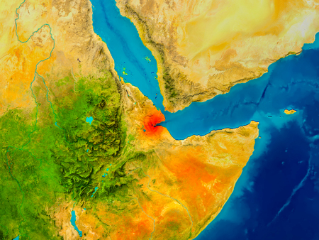 Djibouti highlighted in red on physical map. 3D illustration.