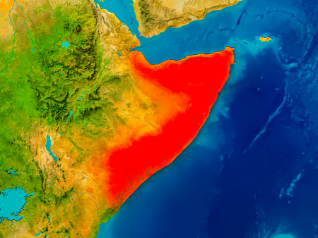 Somalia highlighted in red on physical map. 3D illustration.