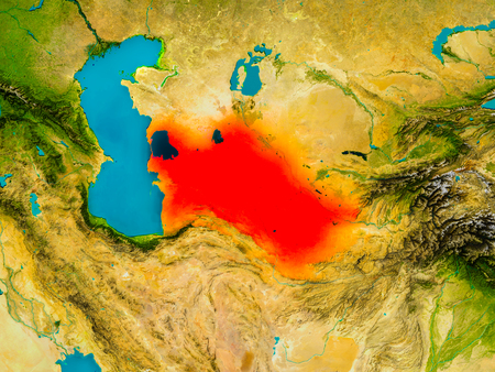 Turkmenistan highlighted in red on physical map. 3D illustration.