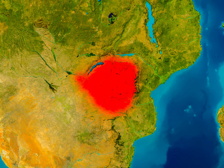 Zimbabwe highlighted in red on physical map. 3D illustration.