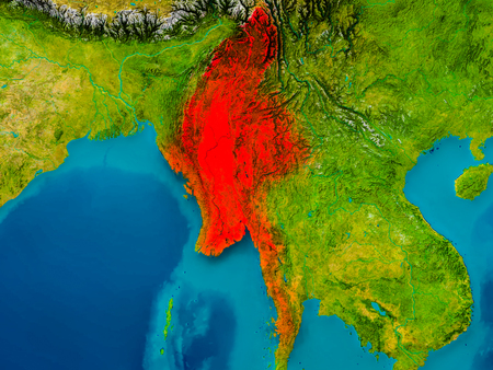 Myanmar highlighted in red on physical map. 3D illustration.