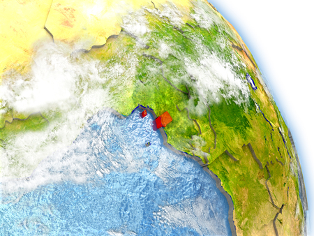 Equatorial Guinea in red color on model of Earth. 3D  illustration with detailed planet surface, clouds and reflective ocean waters. Stock Photo