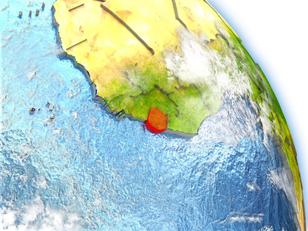 Sierra Leone in red color on model of Earth. 3D  illustration with detailed planet surface, clouds and reflective ocean waters.