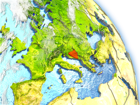 Bosnia in red color on model of Earth. 3D  illustration with detailed planet surface, clouds and reflective ocean waters.