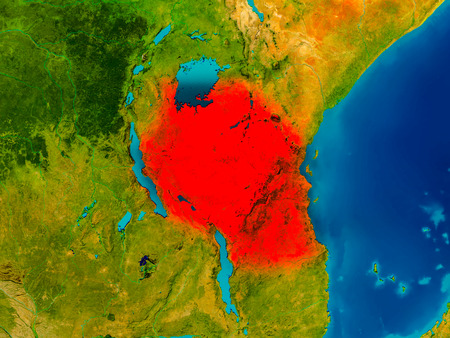 Tanzania highlighted in red on physical map. 3D illustration.