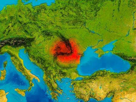 La Roumanie surlignée en rouge sur la carte physique. Illustration 3D Banque d'images - 77615072