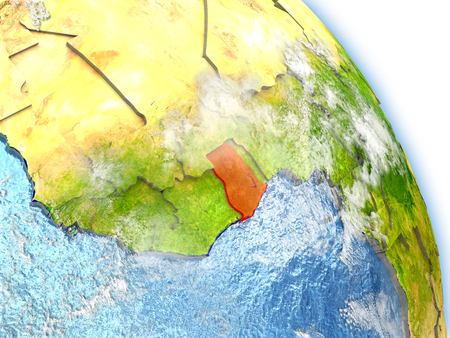 Ghana in red color on model of Earth. 3D  illustration with detailed planet surface, clouds and reflective ocean waters. Stok Fotoğraf