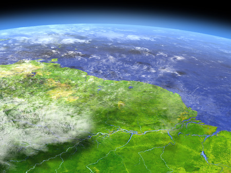 Amazon delta from space. 3D illustration with detailed planet surface.