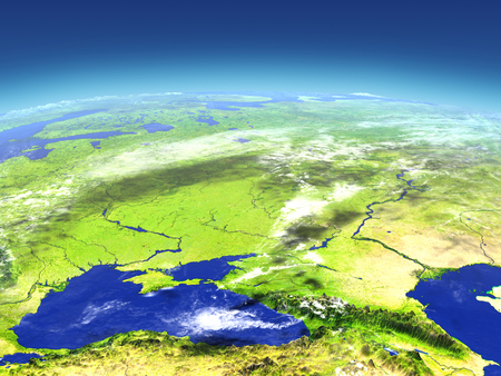 georgia: Caucasus region from space. 3D illustration with detailed planet surface Stock Photo