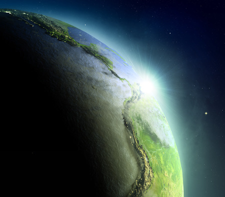 city lights: Sunrise above Eastern Pacific. Concept of new beginning, hope, light. 3D illustration with detailed planet surface, atmosphere and city lights.